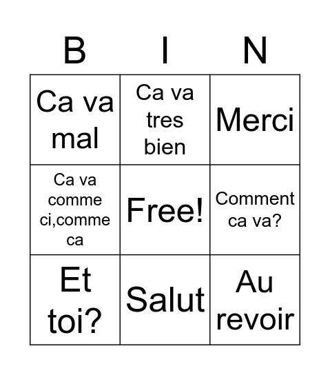 French greetings Bingo Card