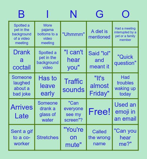 Happy Hour Bingo Card