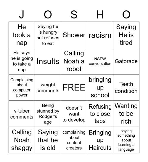 Josh Bingo Card