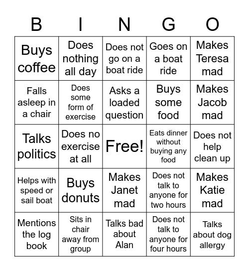 Staying Sane Bingo Card