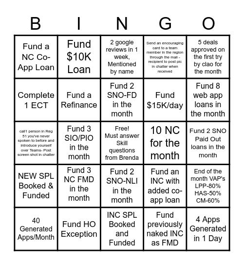 Region 51 June BINGO Challenge Bingo Card
