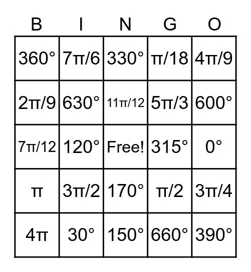 Radians/Degrees Conversion Bingo Card
