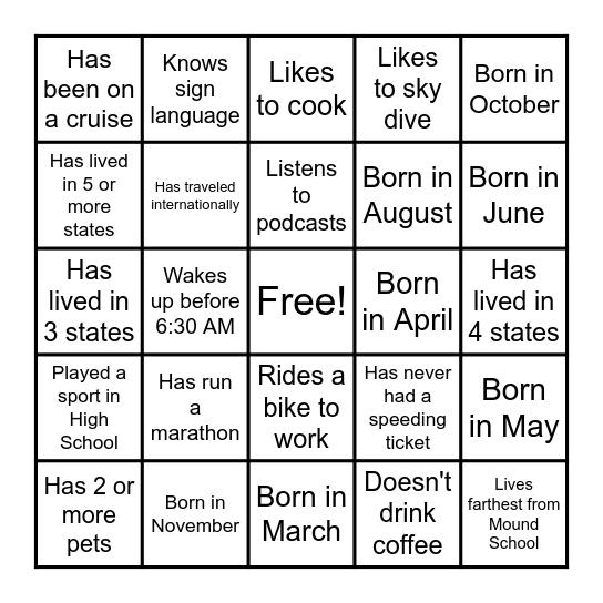 Coworker Team Building Bingo Card