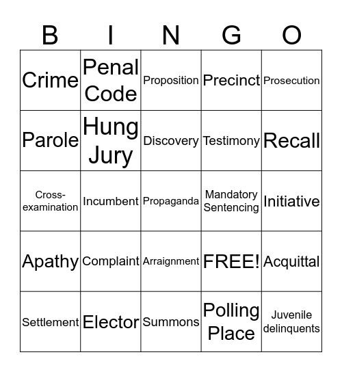Chapter 16 Bingo Card