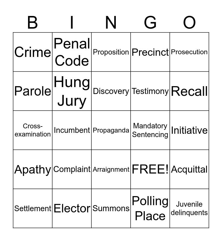 Chapter 16 Bingo Card