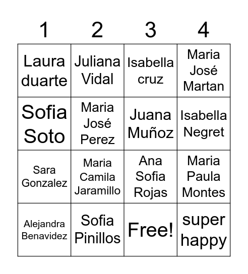 7A Bingo Card