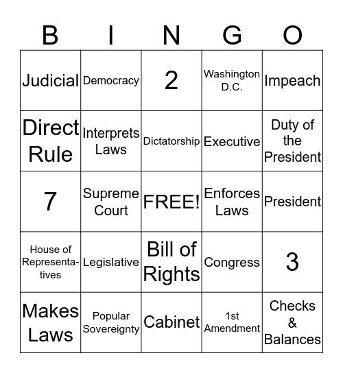 Governement Bingo Card