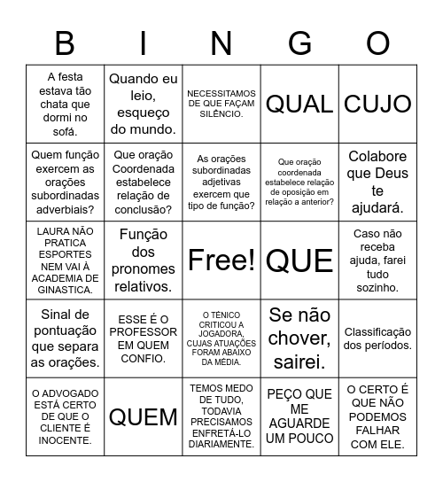 ORAÇÕES COORDENADAS E SUBORDINADAS Bingo Card