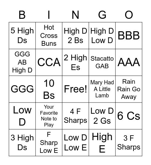 Recorder Note Bingo Card