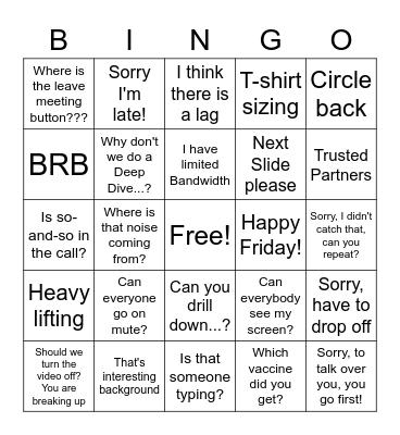 work work work work work! Bingo Card