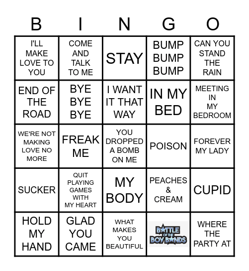 ALL ABOUT THE BOY BANDS Bingo Card