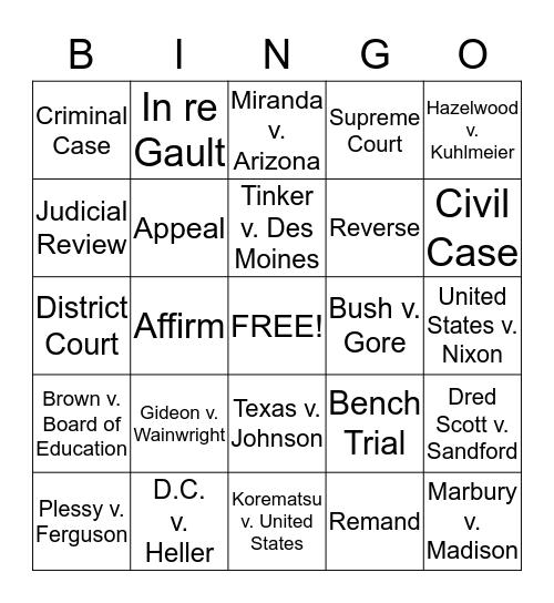 Supreme Court Cases Bingo Card