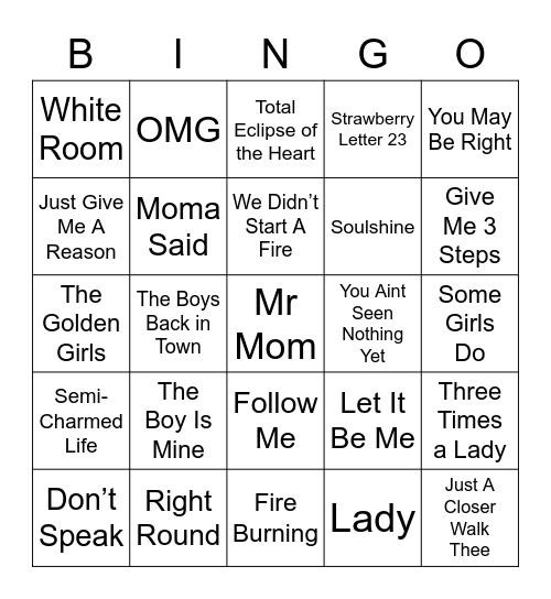 Music Bingo 45 Bingo Card