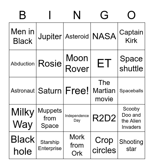 UFO Bingo Card