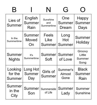 SUMMER ROCK-N-ROLL BINGO Card