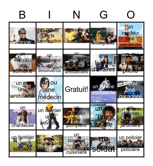 Les métiers Bingo Card