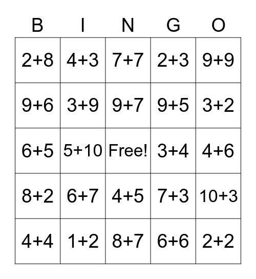 Addition Strategy Bingo Card