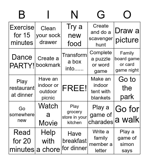 Spring Break BINGO Card