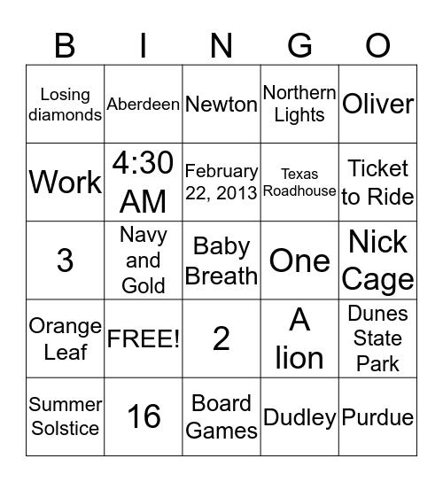 Wedding 2015! Bingo Card