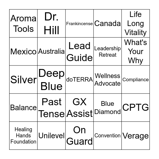 Let's Play doTERRA Bingo!!!! Bingo Card