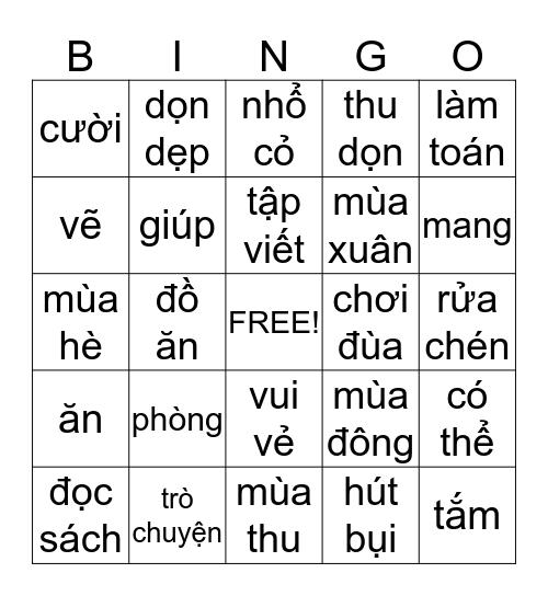 CHƠI LÔ TÔ Bingo Card