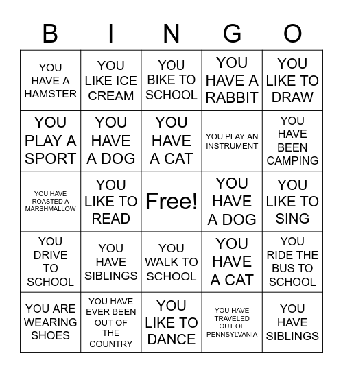 GETTING TO KNOW YOUR CLASSMATES Bingo Card