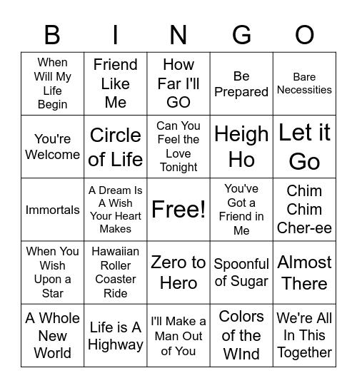 Disney Song Bingo Card