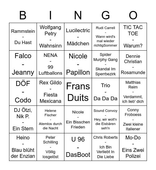 Deutsches Bingo Card