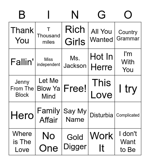 Early 00's Pop Bingo Card