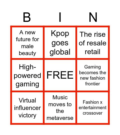 2021 Culture Cast Bingo Card