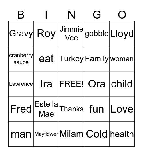 Foley Family Thanksgiving Dinner Bingo Card