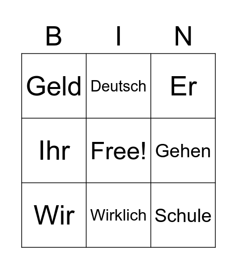 Deutsch/German Bingo! Bingo Card