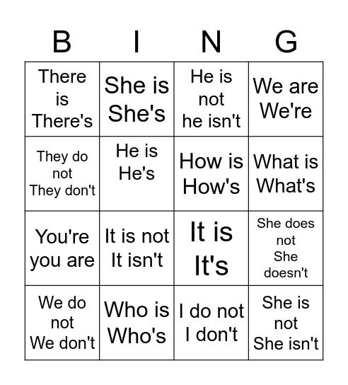 Contractions Bingo Card