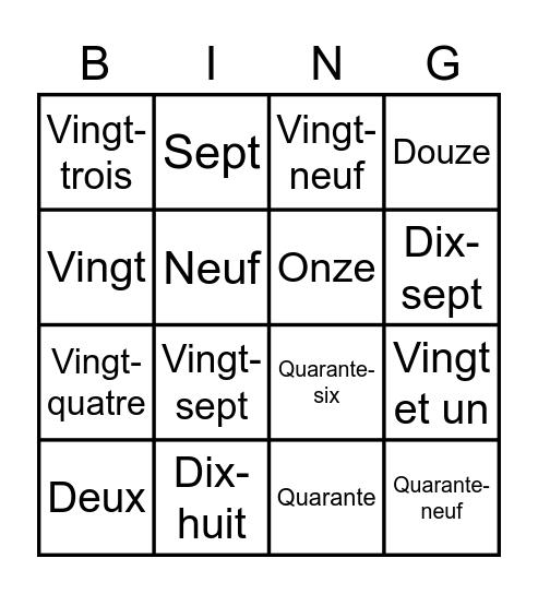 Harry's French Project Bingo Card