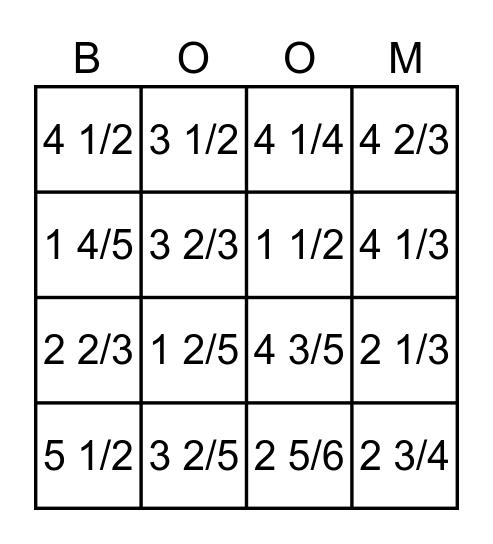 Improper Fractions to Mixed Numbers Bingo Card