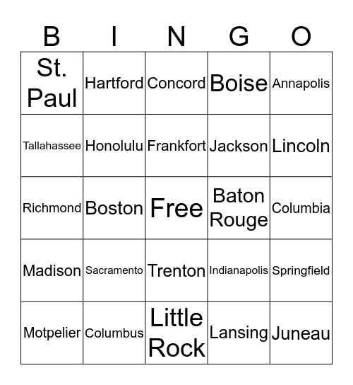 States/Capitals Bingo Card
