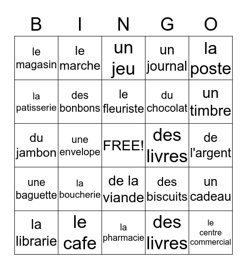 On fait des courses! Bingo Card