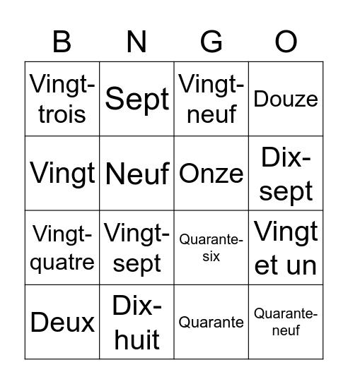 Harry's French Project (Mr. Smith) Bingo Card