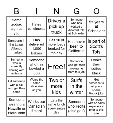 Schneider Bingo Card