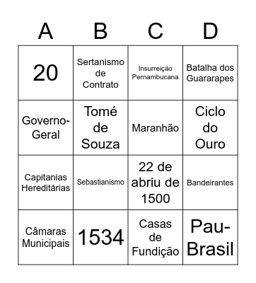 Bingo - História do Brasil Bingo Card