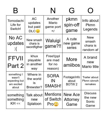 E3 Hopes/Expectation Bingo Card