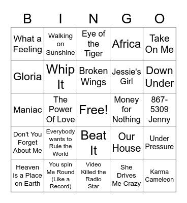 80s night all 80s Bingo Card