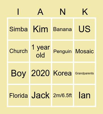 Ian's 1st Birthday Bingo Card