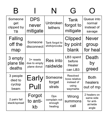 E9S Prog Bingo Card