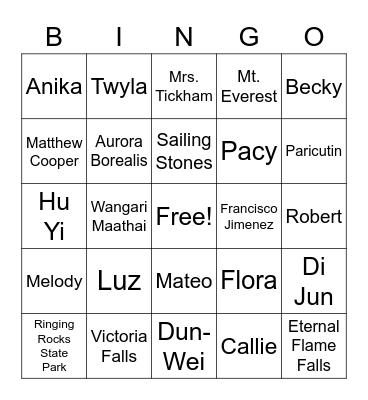 People and Places Bingo 2021 Bingo Card