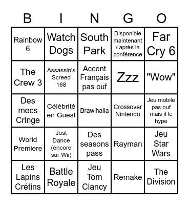 Ubisoft Bingo Card