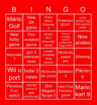 Nintendo E3 bingo card Bingo Card