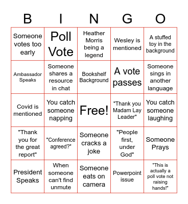 Conference Bingo Card