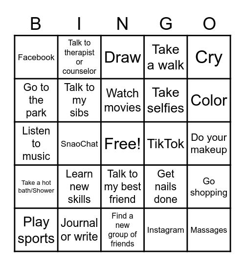 Building/Improving My Self Esteem Bingo Card