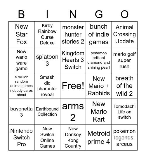 Nintendo E3 Predictions Bingo Card